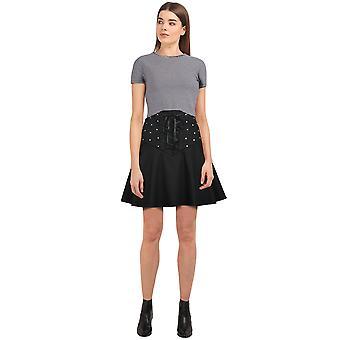 Chic Star Plus Size Ribbon Skirt In Black/Stud