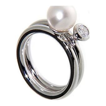 Adriana Pearl Ring Agua dulce y Zirconia Silver S3
