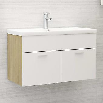 vidaXL Waschbeckenunterschrank Weiß und Sonoma 80x38,5x46 cm Spanplatte
