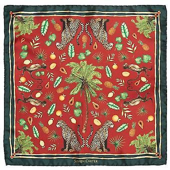 Simon Carter Tropical Jungle Scene Pocket Square - Green/Red