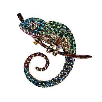 Suuri lisko kameleontti rintaneula, Eläinten takki Pin, Tekojalokivi korut, Emali