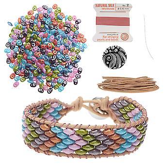 Wkład - Bransoletka SuperDuo Wrapit Loom w waty cukrowej - Ekskluzywny zestaw biżuterii Beadaholique