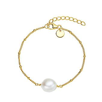 NOELANI - Women's bracelet in silver 925 gold plated with pearls, patterned chain, adjustable length