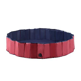 PawHut Foldable Dog Paddling Pool Pet Cat Swimming Pool Indoor/Outdoor Collapsible Summer Bathing Tub Shower Tub Puppy Washer (Red, Φ160 × 30H cm)