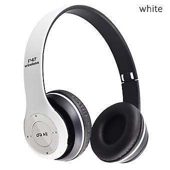 Witte draadloze headset ruisonderdrukking Bluetooth hoofdtelefoon Hifi stereo bas gaming oortelefoon