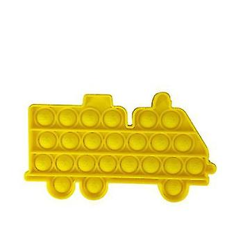 2Pcs الأصفر النار شكل سيارة دفع دمية فقاعة الحسية تململ المضادة للاكتئاب اللعب az603