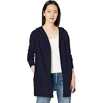 Brand - Daily Ritual Women's Terry Cotton and Modal Hooded Open Sweatshirt, Navy, Small