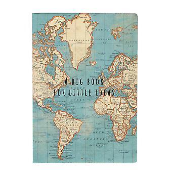 Sass & Belle Iso kirja pienille ideoille Vintage Kartta A5 Muistikirja