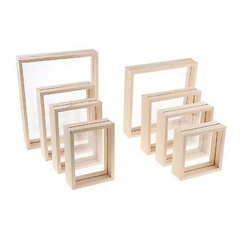 مزدوجة الوجهين ديكور إطار الصورة الخشبية مع غطاء الزجاج الجدار عرض صورة