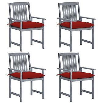 vidaXL-regissörens stolar med kuddar 4 st. grå massiv träakacia