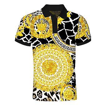 ユンユン メン&アポス;s 3dゴールデンフラワープリントショートスリーブポロシャツ