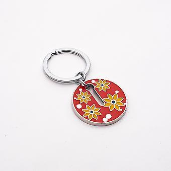NEKTAR G08083 Floral Round Keychain Red