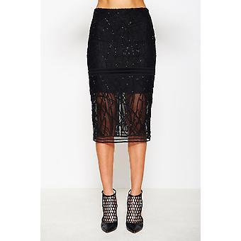 Embroidered Beaded Mesh Skirt