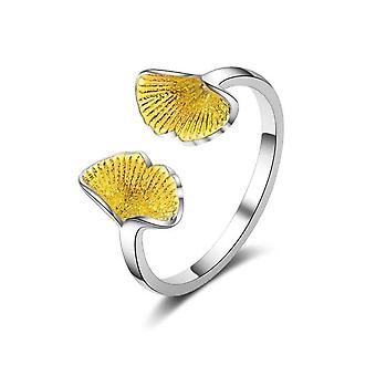 3PCS Copper Woman Fashion Jewelry Golden Leaf Retro Simple Ring Open Size Adjustable Ring
