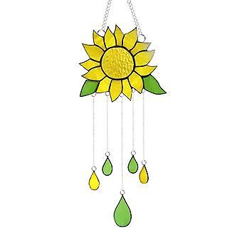 Mooie gebrandschilderde glazen zonnebloem raam hangende decoratie met ketting huis ornament wind klokkenluiders