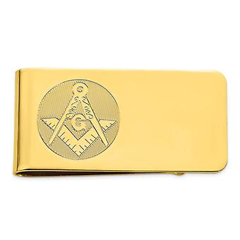 14k Gold Plated Solid Polished Patterned Engravable Masonic Money Clip Jewelry Gifts for Men