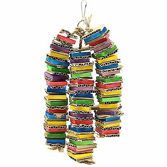 Bird Chew Toys, Colorful Hanging Wooden Parrot String Toy Blocks - 3pcs