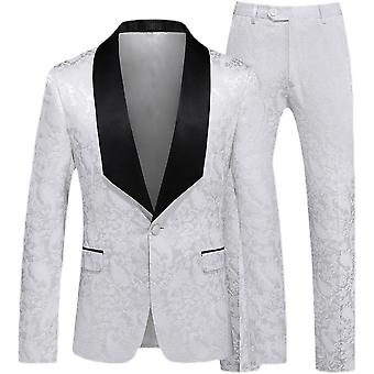 Silktaa Men's Fashion Color Matching Printed Two-piece One-button Blazer And Pants