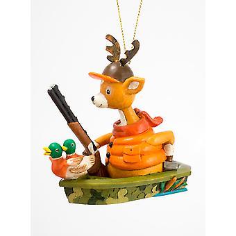 Deer Hunter med pistol and lokker i båt juleferien pryde 3.75 Inches