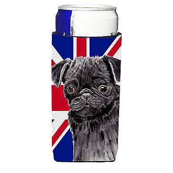 Mops mit englischen Union Jack britische Flagge Ultra Getränke Isolatoren für schlanke Dosen