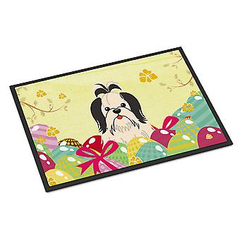 Pasen eieren Shih Tzu zwart wit Indoor of Outdoor Mat 18 x 27
