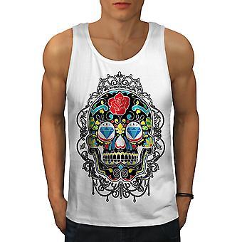 Renkler Yüz Skull Erkekler WhiteTank Top | Wellcoda