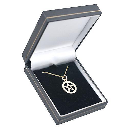 9ct Gold 19mm schlicht Pentangle im Kreis Anhänger mit einem Kabel Kette 20 Zoll