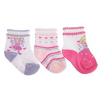 Baby jenter bomull rik diverse Fairy Design sokker (pakke med 3)