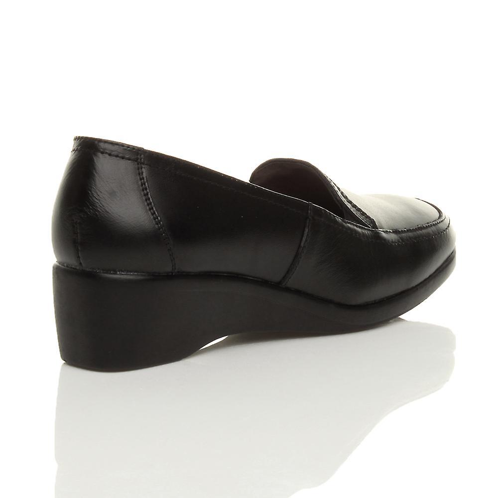 Ajvani womens mid low heel wedge leather elastic smart work flexible sole loafers shoes