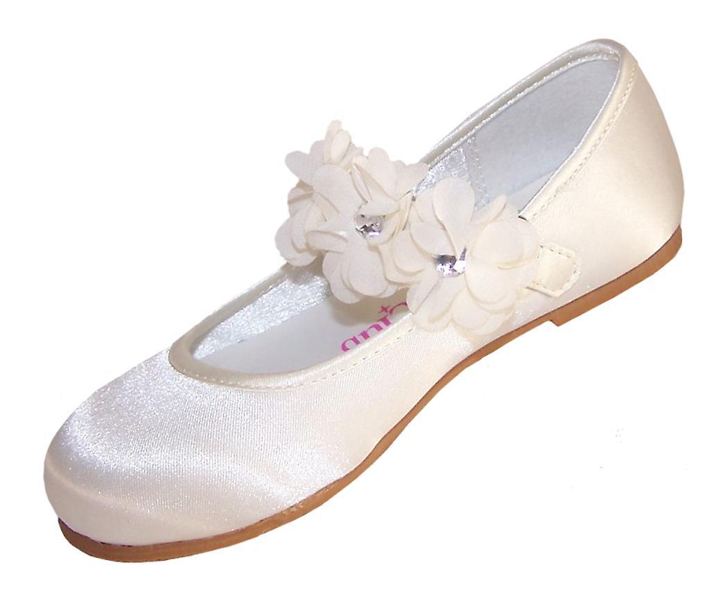 Infants ivory satin flower girl ballerinas and bag