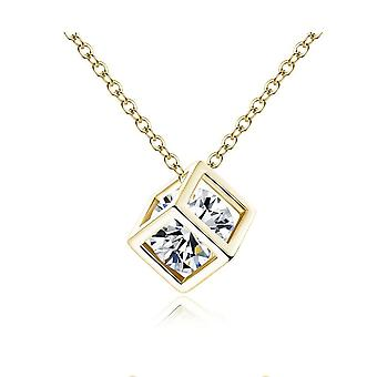 Womens Gold Cube Necklace With Crystal Stone Inside