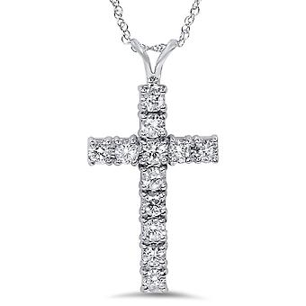 VS 1ct Diamond Cross Pendant 14K White Gold 1