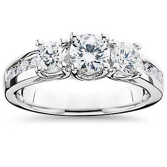 2 قيراط الماس ثلاثة ستون خاتم الذهب الأبيض ك 14