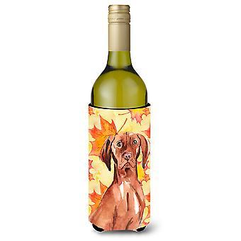 Fall Leaves Vizsla Wine Bottle Beverge Insulator Hugger