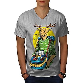 Funy Deer Men GreyV-Neck T-shirt | Wellcoda