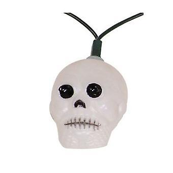 Schädel Lichterkette 10 Laternen Skull Skelett Totenkopf Halloween Girlande 10 m