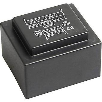 Gerth PTG381802 PCB mount transformator 1 x 230 V 2 x 9 V AC 3.60 VA 200 mA