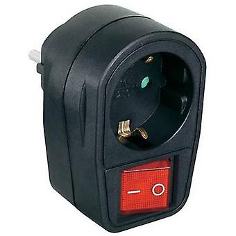 Renkforce 1296317 In-line socket with switch 2-pin Black