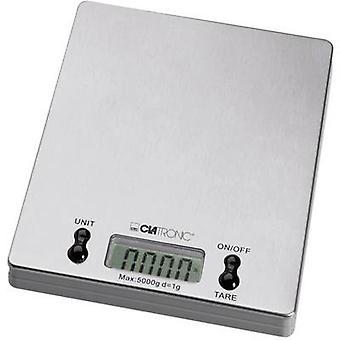Clatronic KW 3367 køkken skalaer digital vægtområde = 5 kg rustfri