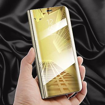 For Apple iPhone XS MAX 6.5 inch clear view mirror mirror smart cover gold protective case cover pouch bag case new case wake UP function
