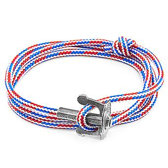 Anchor & Crew Project-rwb Red White And Blue Union Anchor Silver And Rope Bracelet