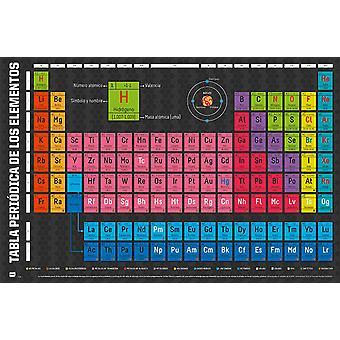 Tabla Peri3-4dica de los Elementos Poster Periodiek systeem van elementen 61 x 91,5 cm