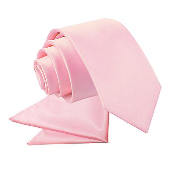Baby roze platte satijnen stropdas & zak plein voor jongens instellen