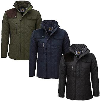 Soul Star Mens Padded Diamond Quilted Coat Cord Patch Winter Jacket New
