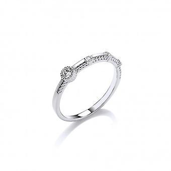 Cavendish francia Fine Silver és CZ kivert Ring
