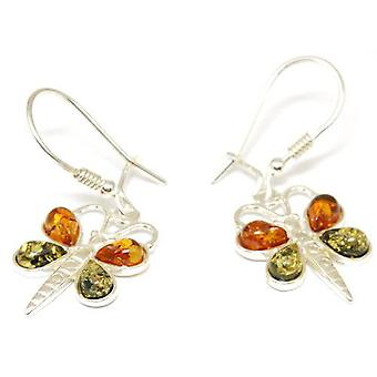 The Olivia Collection Sterling Silver Multi Colour Amber Butterfly Drop Earrings