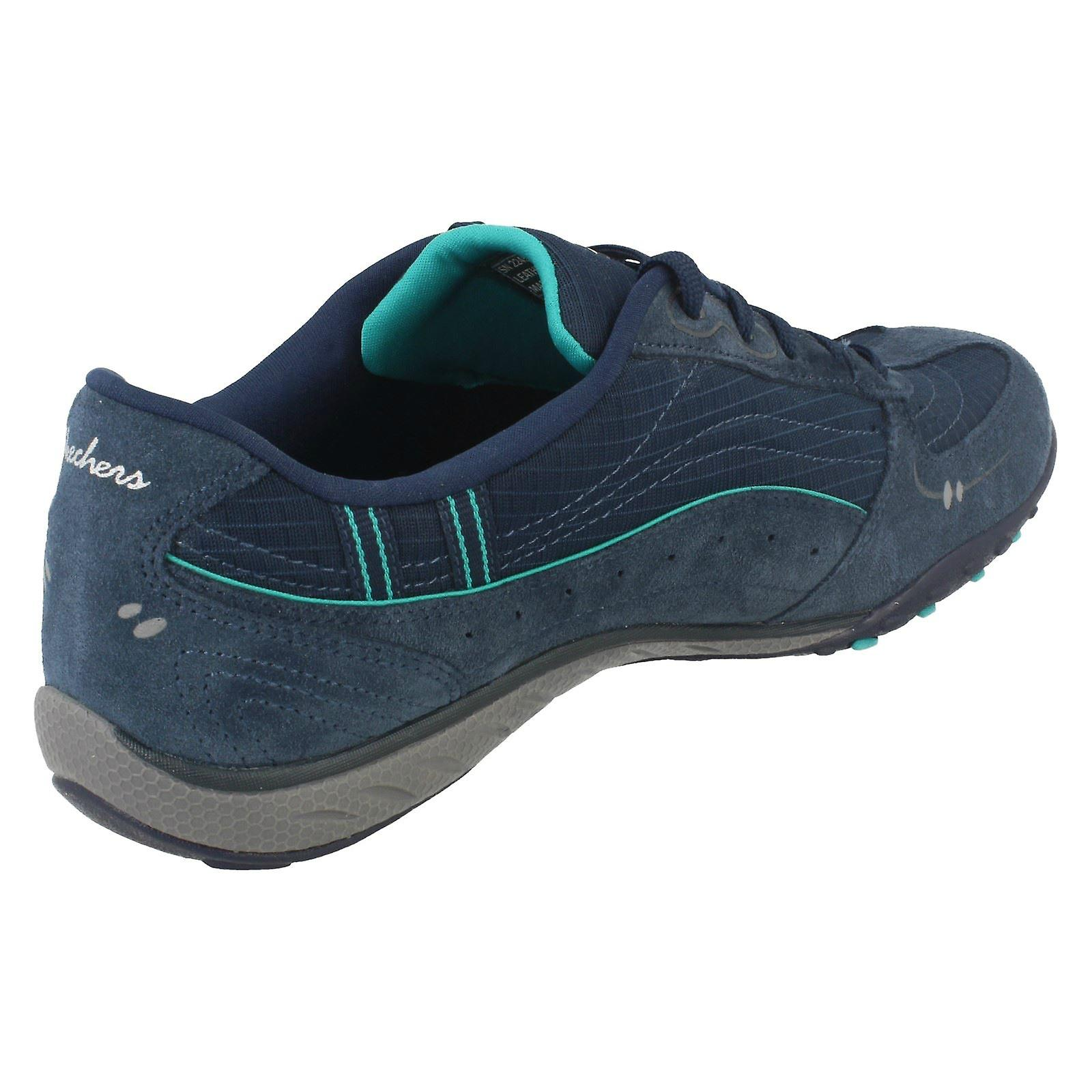 Details about Skechers Womens Navy Aqua Blue Breathe Easy Just Relax Trainers