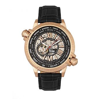 Reign Thanos Automatic Leather-Band Watch - Rose Gold/Black