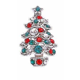 Albero di Natale scintillante verde rosso zircone spilla Pin
