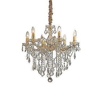 Ideal Lux - Florian oro acabado seis luz lámpara de araña con vidrio transparente y cristales IDL035635
